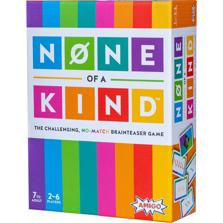"None of a Kind - The Challenging, No-match Brainteaser Game ***NEW FOR 2020***Ages 7+ | 2-6 Players | Wait—it says ""blue,"" but it's printed in red. What's going on? This multi-player brainteaster game is designed to befuddle, and strenghten your brain. Everyone plays at once as you race to match up cards that don't match—it sounds easy, but it's surprisingly challenging. None of a Kind is based on The Stroop Test, one of the most-cited papers in experimental psychology. It studies the relationship between the brain's processing speed and executive functions, focusing on regions of the brain involved in planning, decision-making, and managing real-world interference, such as multi-tasking. In other words, playing None of a Kind improves your brain's processing speed! *Brainteasers are on trend– None of a Kind plays like a brainteaser for multiple players. *Constant action– no waiting for turns. *Repeated play helps increase the brain's processing speed. [Contents: 80 linen-finish color cards, 30 linen-finish point cards, illustrated instructions]"