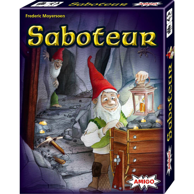 Saboteur– The Classic Card Game of Treasure and Treachery Ages 8+ | 3-10 players | 30 minutes play time | You're digging for gold deep in the shadowy maze of a mining tunnel, when suddenly a pickaxe shatters your lamp and the cavern goes pitch black. The saboteur has struck again . . . but who is the saboteur? Can you and your fellow miners complete a path to the hidden gold, or will the saboteur thwart your efforts? With a unique combination of cooperation and betrayal, Saboteur reveals new secrets every time it's played--it's one of the most popular strategy card games in the world. *Tournament kits available, retailers can host in-store events leading up to the world championship. *One of board game geek's top 100 family games. *Great for small and large group play. [Contents: 44 path cards, 27 action cards, 28 gold nugget cards, 11 character cards (7 gold miners, 4 saboteurs), illustrated instructions.] Made in Germany