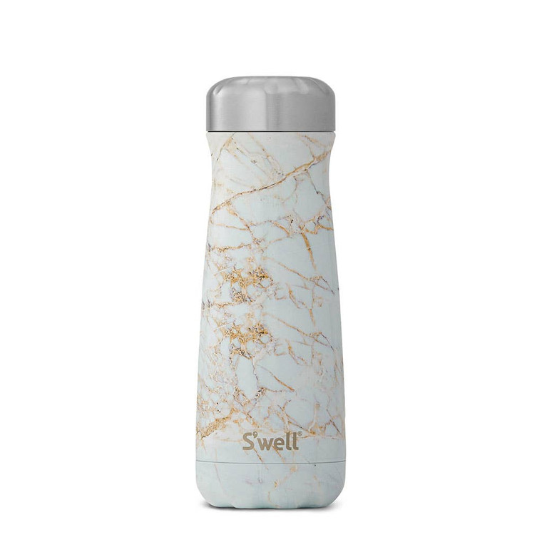 S'well Travelers feature Therma-S'well® Technology with triple-layered, vacuum-insulated construction designed to keep beverages colder or hotter, longer than all the rest.  Made from 18/8, food-grade stainless steel with superior construction that allows for refilling and reusing easily to reduce the need for single-use plastic water bottles.  Copper wall layer creates a condensation-free exterior that won't sweat on your hands or in your bag.  BPA/BPS-Free and reusable. Hand-wash only.
