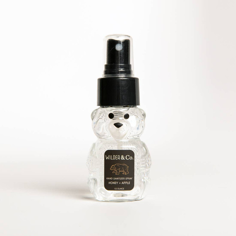 A portion of proceeds from this item will be donated to the Vital Ground Foundation to protect America's Grizzley Bear.   Our 1.5 oz Honey + Apple Spray Hand Sanitizer is perfect for keeping hands clean on the go. Simply spray onto palms and say goodbye to germs. This is far from the drugstore hand sanitizer you're used to - with added Aloe this makes for a lovely, light Honey scent.   Keep out of reach of children. Do Not Consume  Ingredients: Ethyl Alcohol (80%), Water, Glycerin, Propylene Glycol, Aloe Vera, Pro-Vitamin B5, Vitamin E  Made in United States of America