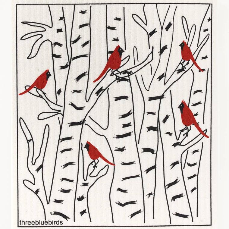 Winter Cardinals Swedish Dishcloth
