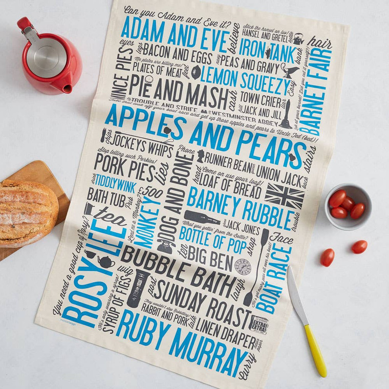 Cockney Rhyming Slang Tea Towel  Handmade in Britain, printed onto 100% organic cotton. Dimensions: approx 48 x 76 cm. Washing: Machine washable, max 40 degrees celsius. Complete with a handy hanging loop