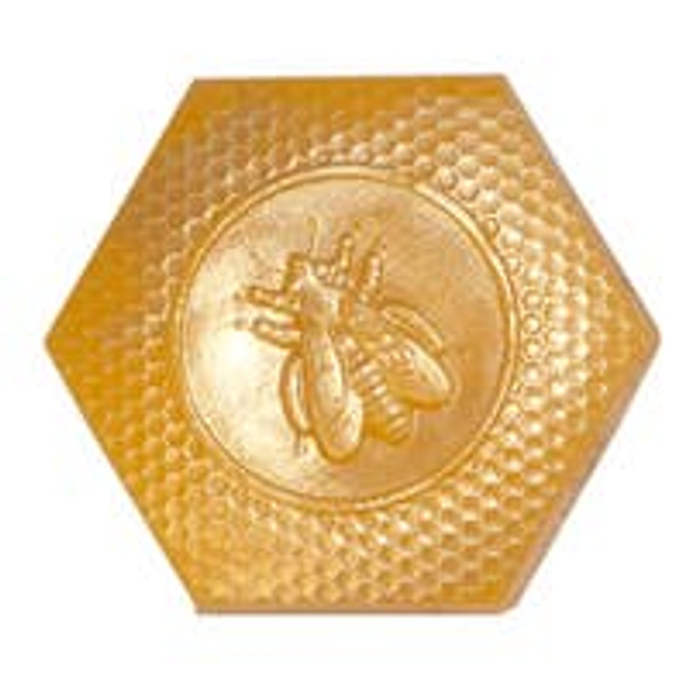 Queen Bee Soap  This large, luxurious soap is scented with fine saffron and honey fragrance and made with real honey and turmeric powder. Each queen bee soap is hand dusted with gold mineral mica powder. its size, shape, and the lovely scent has made this fun-to-use soap a classic favorite. Size: 4.8 oz. Made in United States of America