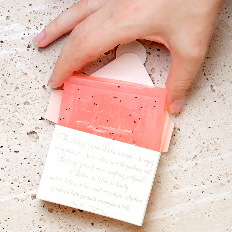 Natural Soap  Fresh and fruity, with sweet, sparkling goji and the sugary nectar of deliciously ripe guava. Color: coral, with poppy seeds for massage and exfoliation. These bar soaps are made with natural glycerin soap. They are hand-cut, stamped, and packaged in an Austin facility. This soap is chock full of moisture, thanks to its high glycerin content. And cleans thoroughly with a creamy lather that leaves your skin feeling soft and nourished.