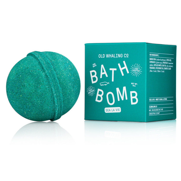 Sea La Vie Bath Bomb These bath bombs are carefully mixed by hand. They are loaded with epsom salts and oils for a lovely, relaxing soak that will cleanse, moisturize and refresh. A beautiful bright teal color with a sweet fragrance blend of clean fresh florals and citrus.
