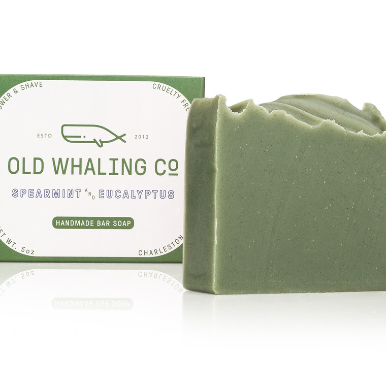 Spearmint + Eucalyptus Bar Soap  This 5oz bar soap is made by hand in small batches. It is cleansing, moisturizing and lovely to use from hair to toes. The soap has a gentle, creamy lather that is great for shaving, bathing, hands and faces. This cool, refreshing bar will leave you feeling energized and refreshed! It is made with an essential oil + fragrance oil blend.