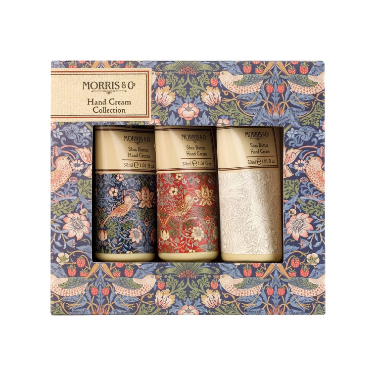 William Morris Strawberry Thief 30ml Hand Cream Trio 30ml Strawberry Thief Hand Cream Trio. Infused with fragrances of rich earthy base notes of Amber, Sandalwood and Patchouli, topped with refreshing notes of red berries and bergamot on a heart of Rose for a sensory treat steeped in English history.