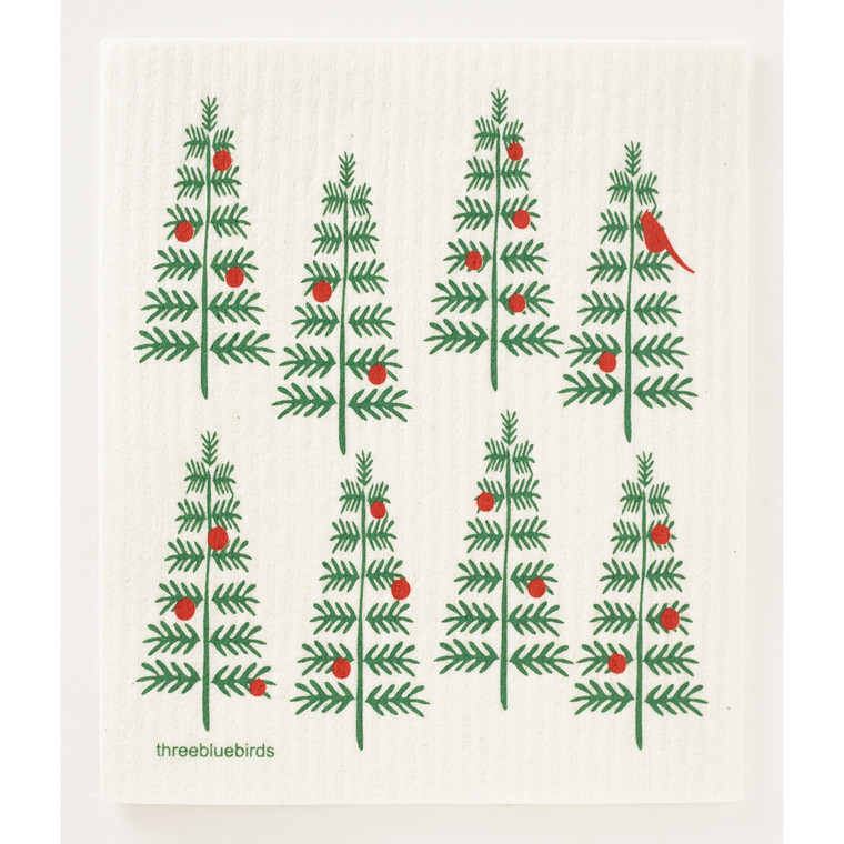 Christmas Trees Swedish Dishcloth