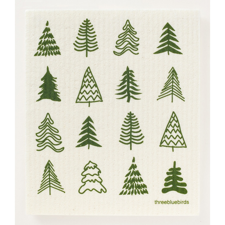 Woodland Trees Swedish Dishcloth