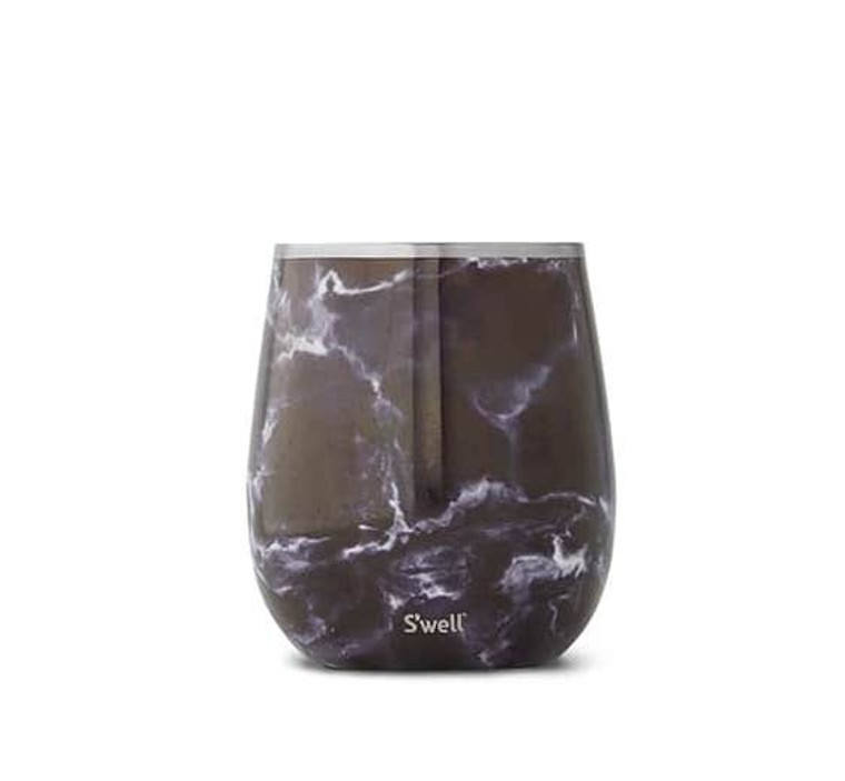 Wine Tumbler - Black Marble  Our stemless and condensation-free Wine Tumbler keeps your favorite wine cool longer, wherever your plans may take you. Stemless for comfortable indoor and outdoor use, storage and transportability. Triple-layer insulation for thermal performance and condensation-free handling. 9oz tumbler matches standard white wine glass capacity.