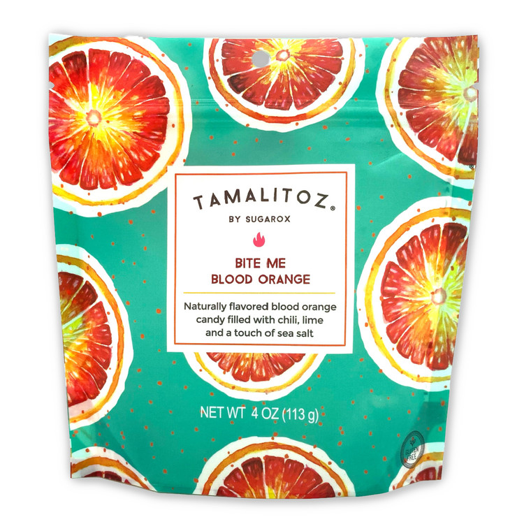 Bite Me Blood Orange Tamalitoz is another wild fusion of flavors,  this time we wanted to evoke the flavors of Italian blood oranges with our chili lime sea salt blend,  they transport you to some magical place where where oranges and chili come together in perfect bliss. Hand crafted European style ribbon candy filled with a uniquely Mexican blend of chili lime and sea salt. Naturally colored and flavored,  Bite Me Blood Orange Tamalitoz are unique & exotic taking your tastebuds on a jet setting adventure from Sicily to Quintana Roo all in the same bite. Made in Mexico