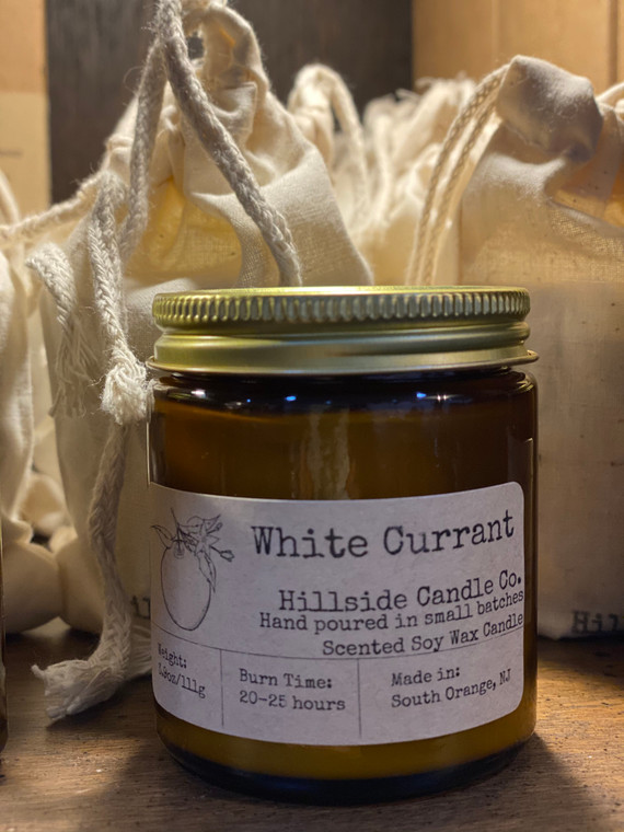 Hillside Candle 4oz - White Currant You cannot get more local than this. These awesome candles are made by my neighbors in South Orange, NJ. Their mini candles come in a 4oz Jar and is hand poured in right here, using 100% soy wax, zinc free wicks, and high quality essential oils and perfume oils.