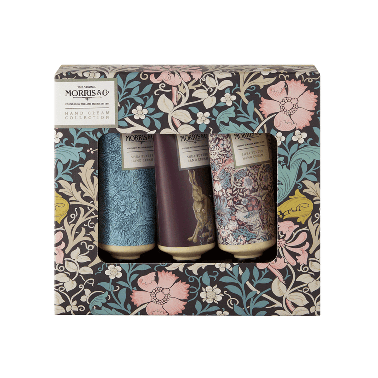 A charming trio of travel sized hand creams featuring three Morris & Co. designs. The luxurious formulations are blended with pink clay, shea butter, jojoba and macadamia oils to help leave hands feeling velvety soft.  A mineral-fresh, floral fragrance with honeysuckle, amber and comforting powdery notes leaves hands delicately scented. This makes a great gift for the Morris & Co. devotee.