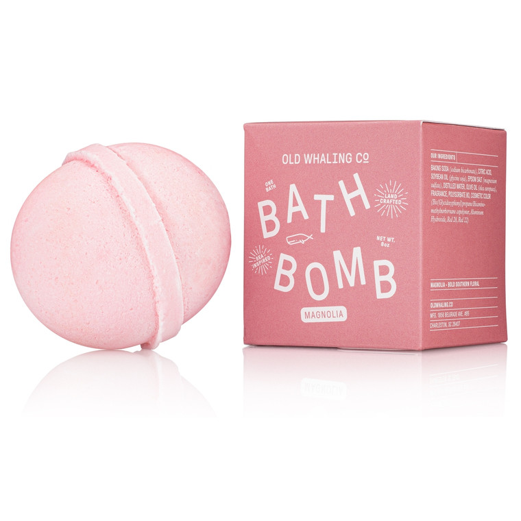 Magnolia Bath Bomb These bath bombs are carefully mixed by hand. They are loaded with epsom salts and oils for a lovely, relaxing soak that will cleanse, moisturize and refresh. The beauty of spring in the South is captured in this pink bath bomb.
