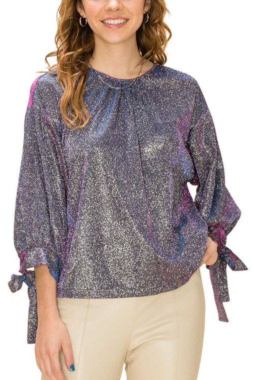Our shimmer tops are perfect to add a bit of sparkle to your outfit. These look great on festive Zoom calls and can be worn with jeans, trousers or flowy skirts.  Available in Small, Medium & Large and 2 colors - Black Diamond & Champagne