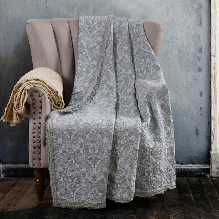 "Over-sized Cotton Damask Throw - Grey Accent any room with this beautiful blanket/throw available in assorted colors. 100% soft garment wash cotton Size: 70"" x 94"" Damask design with fringe Quality fabrics featuring unique colors and textures blending traditional favorites with innovative styles. Machine wash"