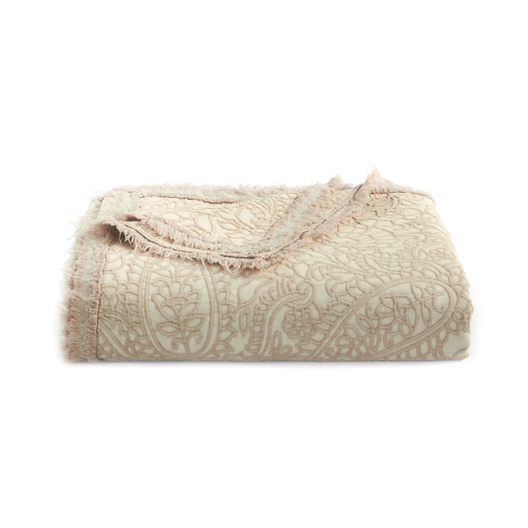 """Over-sized Cotton Damask Throw  Accent any room with this beautiful blanket/throw available in assorted colors. 100% soft garment wash cotton Size: 70"""" x 94"""" Damask design with fringe Quality fabrics featuring unique colors and textures blending traditional favorites with innovative styles. Machine wash"""