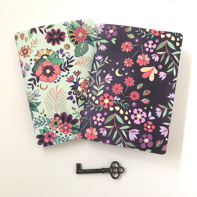 Day & Night - Morning Flowers & Midnight Flowers with suns and moons. These pretty pocket notebooks are perfect for a gift item. Pocket notebooks come in a set of 2, wrapped together in a clear sleeve with kraft branded label.