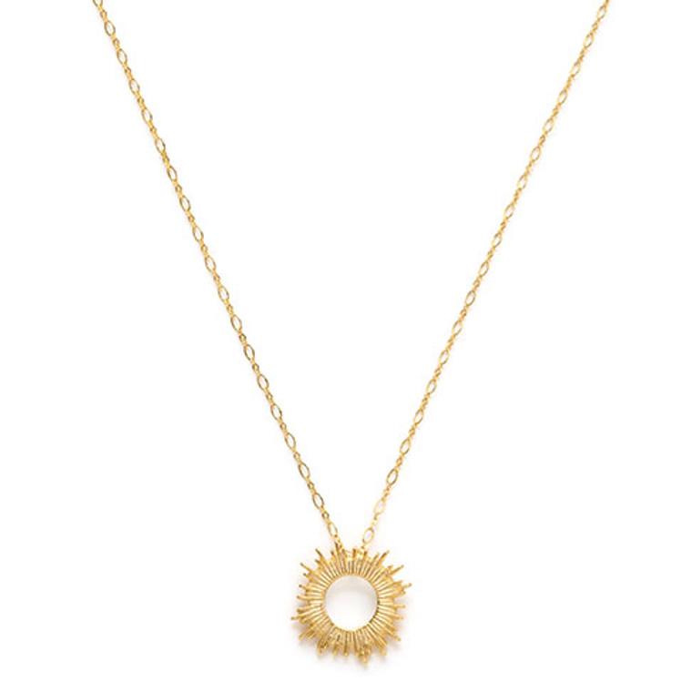 "Sunburst Necklace  Sunburst on 18"" fine chain, 14k gold over brass.Made in United States of America"