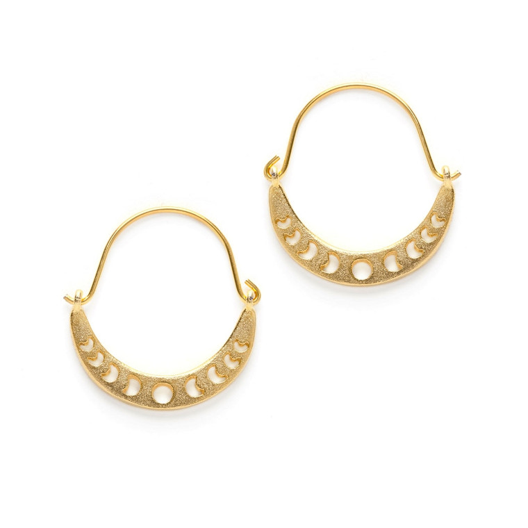 Phases of the Moon Earrings  Inspired by the night sky and the phases of the moon. Matte 14k gold over brass. Made in United States of America