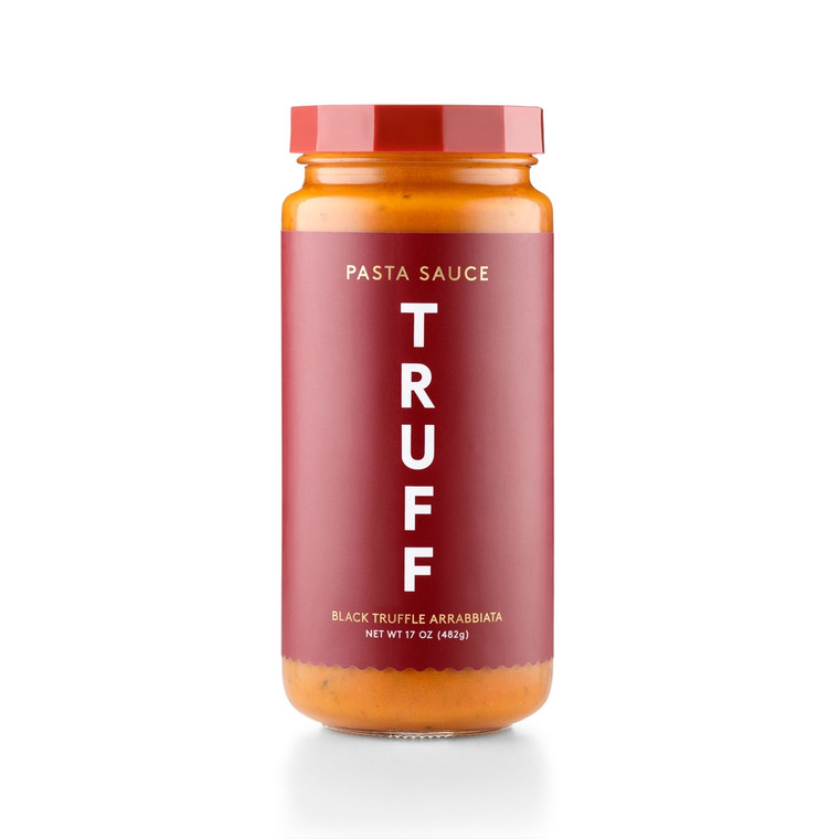 TRUFF Arrabbiata Pasta Sauce  Our black truffle Arrabbiata is a robust red sauce with a delightfully spicy finish! Inspired by our signature line of TRUFF hot sauces, we set out to create an exciting red sauce that focuses on flavor and delivers a nuanced kick to your taste buds. This blend of ripe tomatoes, delicate herbs, black winter truffle, and a generous dose of red chili peppers transforms lazy dinners into adventurous dining. Made in United States of America