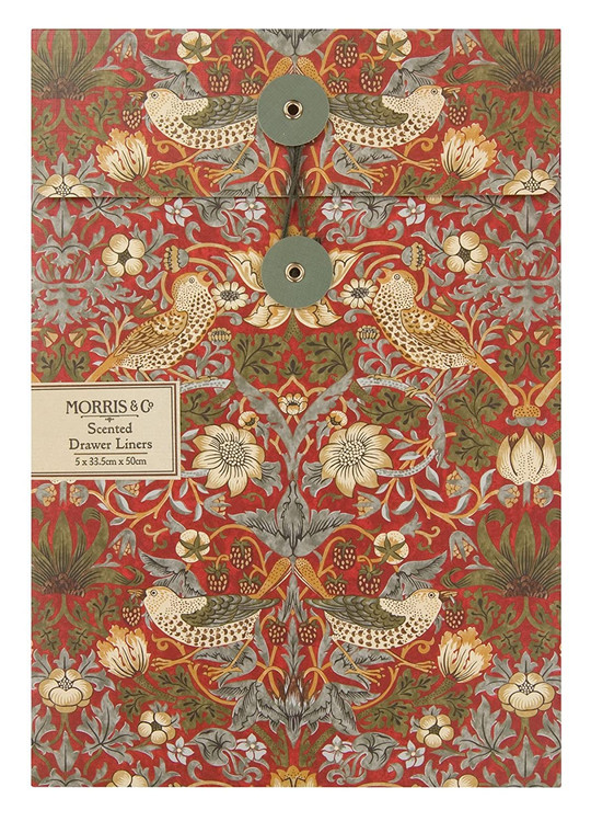William Morris Strawberry Thief Scented Drawer Liners (5 Sheets). Add detail to daily life and fragrance to lingerie and bed linen drawers with the rich, earthy grounding scent.  Fragrance Notes: Sandalwood, Patchouli, Amber, Rose, Violet, Red Berries, Mandarin, Bergamot and Pepper