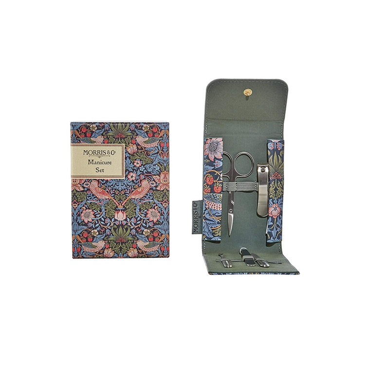 William Morris Strawberry Thief Manicure Set. Stainless steel tools encased within a portable wallet. A beautiful print depicting the thrushes that Morris found stealing fruit in his kitchen garden, bringing English Heritage to daily life.