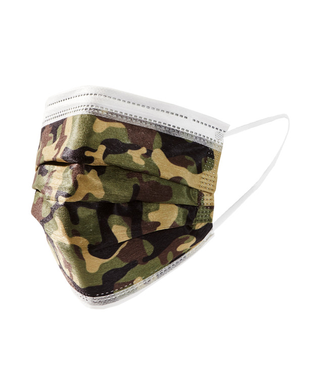 Green Camo Disposable Adult Face Masks, Pack of 10. Disposable Face Masks are a 3-layer filtration mask with filtration efficiency>90%. Melt-blown fabric. Extra strength straps. Anti-fog foam strips to prevent fogging of glasses. Non-medical grade. Packaged 10 masks per sealed bag.