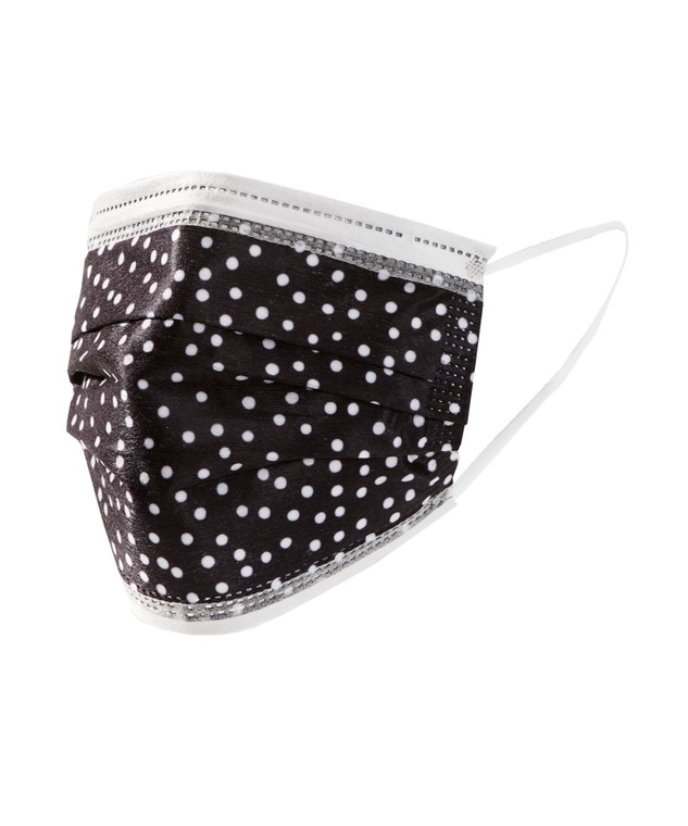 Black & White Polka Dot Disposable Adult Face Masks, Pack of 10  Disposable Face Masks are a 3-layer filtration mask with filtration efficiency>90%. Melt-blown fabric. Extra strength straps.  Anti-fog foam strips to prevent fogging of glasses.  Non-medical grade.  Packaged 10 masks per sealed bag.