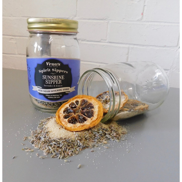 Sunshine Spirit Sipper Infusion Jar  It's a bar in a jar. Vena's Spirit Sipper Infusion Jars are created with delicious ingredients that include freeze dried fruits, herbs, spices, and all natural, organic sweeteners. We put it in a jar; all you have to do is add your favorite spirit! Steep ~ Strain ~ Sip ~ Savor!  Ingredients: organic lavender, lemon, a blend of organic cane sugar, cane syrup, and honey.