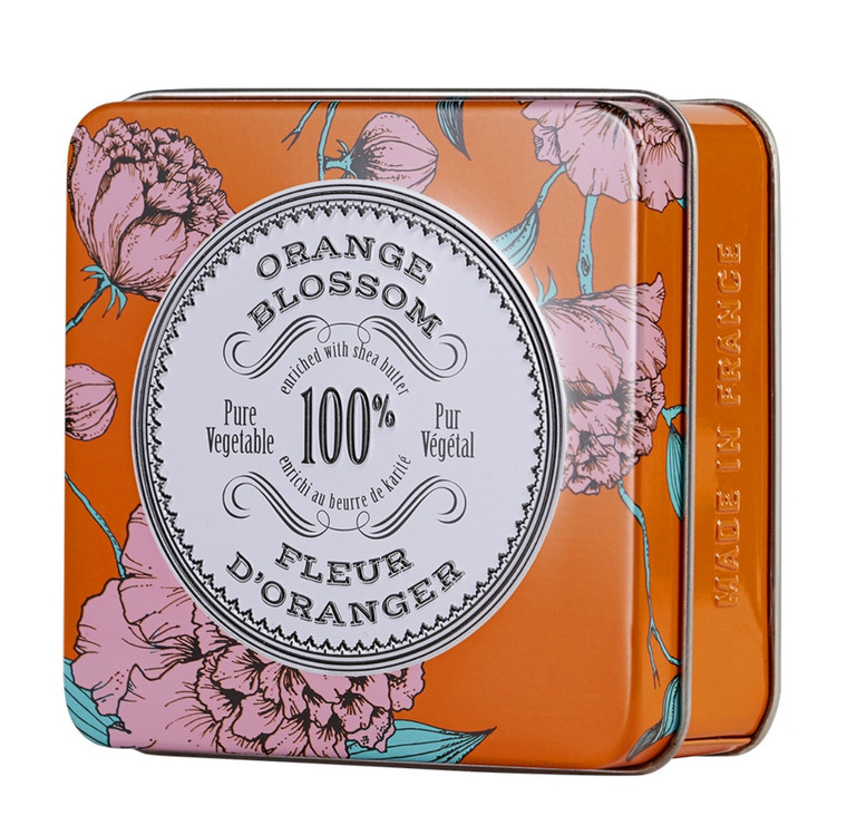 Orange Blossom Travel Soap  La Chatelaine vegetable-based soaps are made in Provence using time-honored craftsmanship and ethically-sourced natural and organic ingredients. Enriched with organic Shea Butter and Calendula to leave your skin feeling cleansed, soft, and moisturized. They are triple-milled, resulting in a long lasting bar with a luxurious lather. Our scents are phthalate-free and created by distinguished perfumers in Grasse, France. Cruelty-free and formulated without BHT, Parabens, Phthalates, Gluten, Soy, or GMOs. Chic embossed tins will keep your soaps dry, whether lathering up at home or jet setting through the Côte d'Azur.
