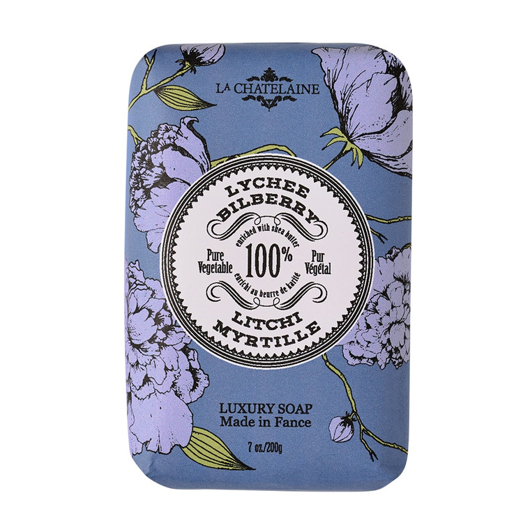 Lychee Bilberry Luxury Soap  La Chatelaine vegetable-based soaps are made in Provence using time-honored craftsmanship and ethically-sourced natural and organic ingredients. Enriched with Organic Shea Butter, Organic Calendula, Organic Argan Oil, and Vitamin E to leave your skin feeling cleansed, soft, and moisturized. They are triple-milled, resulting in a long-lasting bar with a luxurious lather. Our scents are phthalate-free and created by distinguished perfumers in Grasse, France. Cruelty-free and formulated without BHT, Parabens, Phthalates, Gluten, Soy, or GMOs. Chic embossed tins will keep your soaps dry, whether lathering up at home or jet setting through the Côte d'Azur.