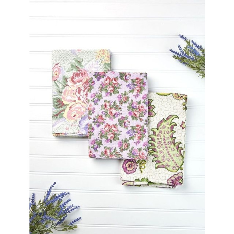 Tea Garden Tea Towel Bundle-Set of 3  Fabric content: 100% cotton.  Care instruction: machine wash separately cold water tumble dry low warm iron  Size: 19x27  Made in India