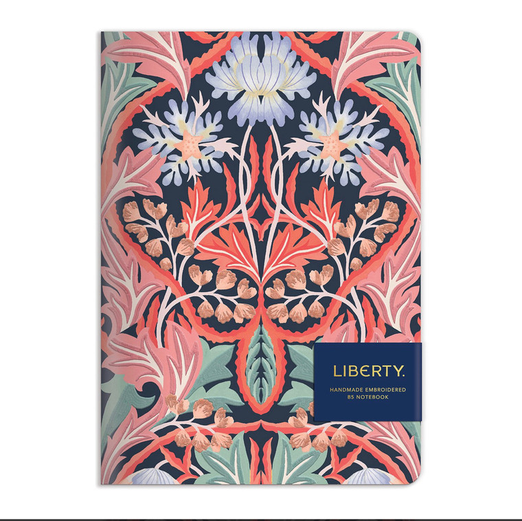 Liberty London May Embroidered Handmade Journal Liberty London is known for its floral and graphic prints and the offering of innovative and eclectic designs. The Liberty London May Handmade B5 Embroidered Journal from Galison features one of Liberty London's iconic patterns. Handmade in India on recycled paper, this luxuriously textured journal contains 100 lined pages, making it as practical as it is beautiful. - 100 Lined pages - Sewn binding - Recycled cotton paper - Made in India