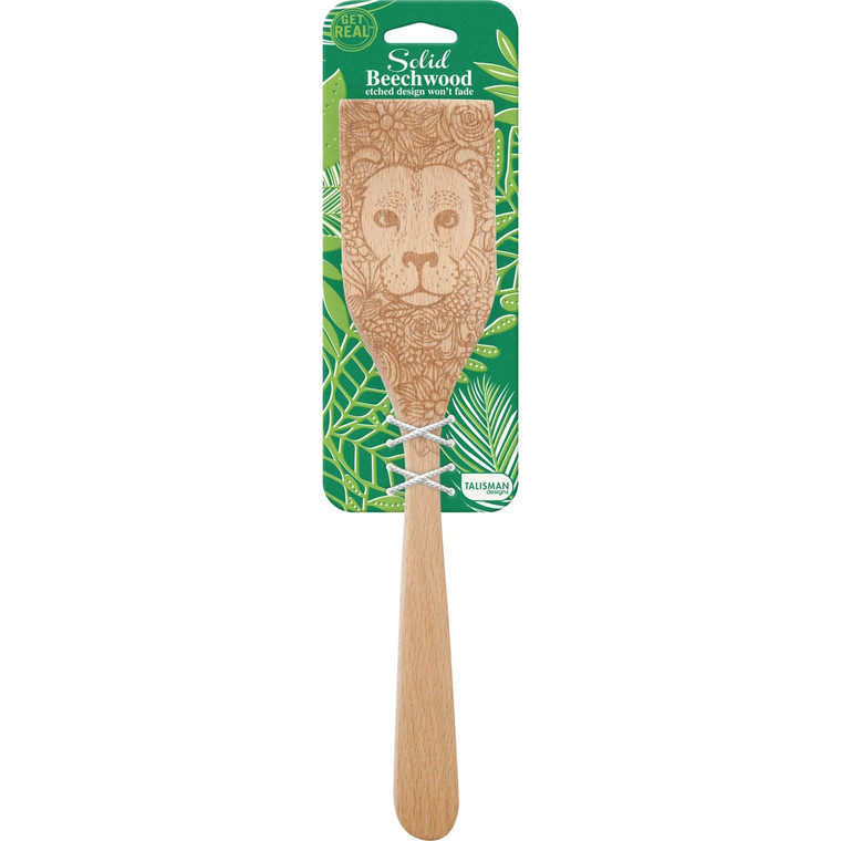 Lion Wildlife Turner  12-inch turner with a beautiful lion design. Made of all natural beechwood, the design is laser etched into wood and will not fade. Will not scratch or damage non-stick cookware nor will it impart flavor, odor or color to food. Durable and long lasting; natural oil finish; hand wash recommended.