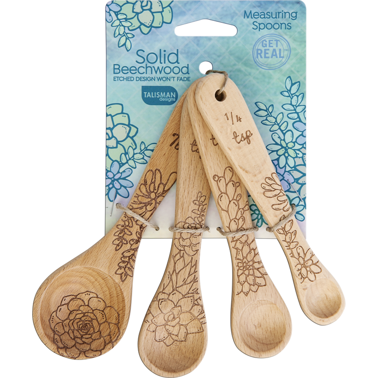 Set of 4 measuring spoons. Made of all natural beechwood, the design is laser etched into wood and will not fade. Set includes 1 tablespoon, 1 teaspoon, 1/2 teaspoon, and 1/4 teaspoon. Durable and long lasting; natural oil finish; hand wash recommended.