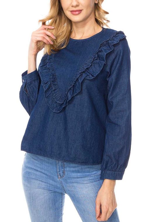 This 100% cotton denim top is available in light and dark blue.