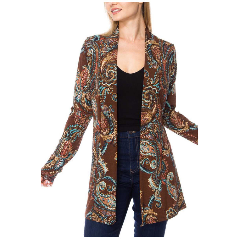 Beautiful paisley print cardigan. Available in S,M & L