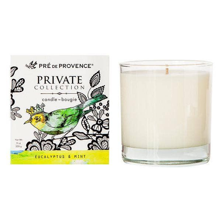 Eucalyptus & Mint (8oz) – Energizing, Invigorating Lift your mood with our fragrant, soy wax blend candle. Burn time of 45 hours. Fragrance sourced from France. Poured in USA. Unlock our Private Collection of specially crafted fragrances inspired by the earthly pleasures of Provencal life. Open, and breathe in our dreamy, decadent combinations created to captivate your senses.