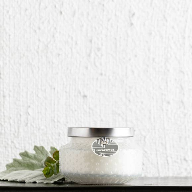 This fragrance features an intoxicating blend of fresh eucalyptus, mint leaves and sage. Retro jar.  These curated candles are hand crafted and hand poured.