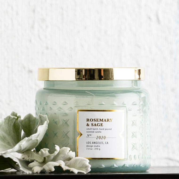 These curated candles are hand crafted and hand poured. This fragrance features an intoxicating blend fresh sage, rosemary and lilac leaves. Retro pharmacy jar.