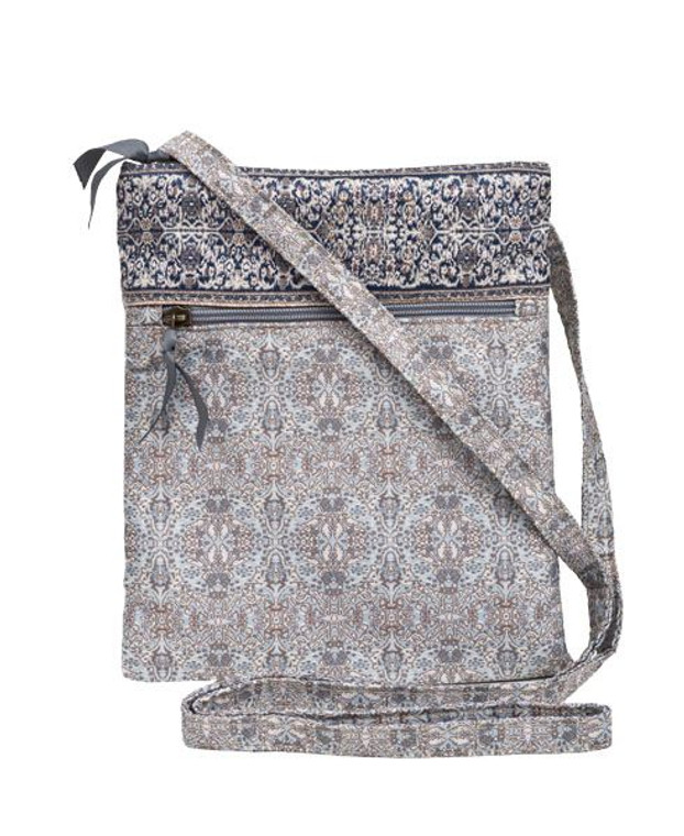 """Our best selling bag!! The Mini-Hipster has a large outside zippered pocket, and a zipper closure on top. Just knot the shoulder strap to the length you desire and go! 8"""" x 10"""""""