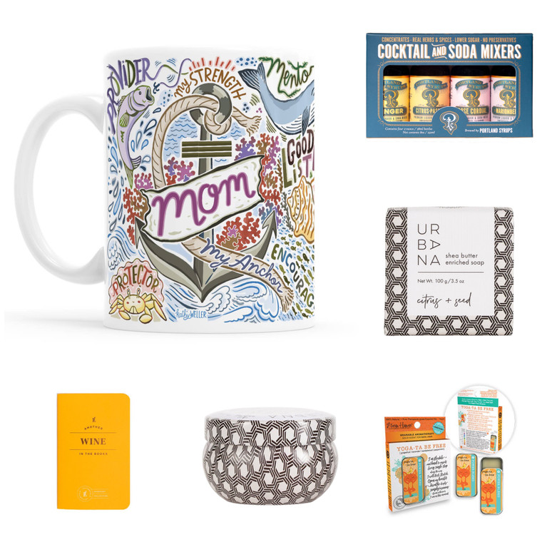The Mom my anchor gift set includes  - Mom my anchor mug  - Mini cocktail and soda mixers set  - Citrus + Seed soap  - Citrus + Seed mini candle  - Wine passport journal  - Yoga-ta Be Free -Blend- 100% Pure Essential Oil Perfume