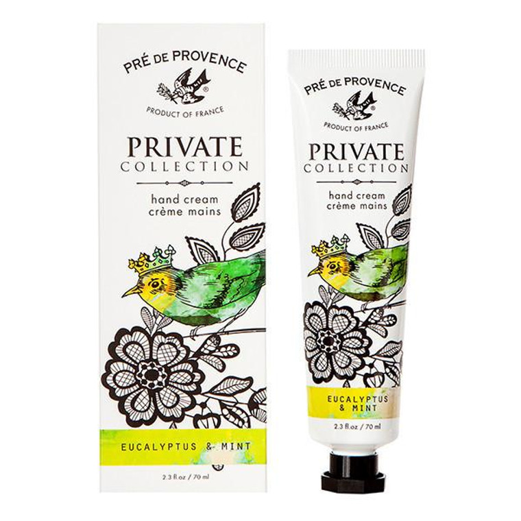 Eucalyptus & Mint Hand Cream (70ml) - Energizing, Invigorating Each decadent hand cream captures a unique blend of endless inspiration while melting away dryness with hydrating Shea, Mango & Cocoa Butters, Glycerin, Beeswax and an antioxidant vitamin complex of A, E and F. You won't be able to keep your hands off. Unlock your Private Collection of specially crafted fragrances inspired by earthly pleasures of Provencal life. Open, and breathe in our dreamy, decadent combinations created to captivate your senses.