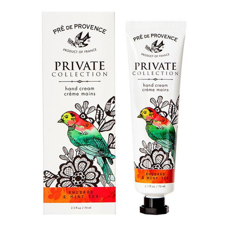 Rhubarb & Mint Tea Hand Cream (70ml) - Crisp, Juicy, & Refreshing  Each decadent hand cream captures a unique blend of endless inspiration while melting away dryness with hydrating Shea, Mango & Cocoa Butters, Glycerin, Beeswax and an antioxidant vitamin complex of A, E and F. You won't be able to keep your hands off.  Unlock your Private Collection of specially crafted fragrances inspired by earthly pleasures of Provencal life. Open, and breathe in our dreamy, decadent combinations created to captivate your senses.