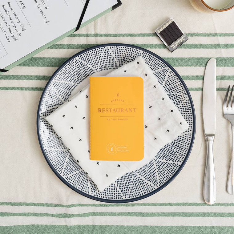 """Restaurant Passport Journal  Designed to capture and encourage experiences, each passport contains 20 entry logs with relevant form fields to help capture meaningful details of each theme-specific experience. Specs: acid-free 60lb text, stippled cover, foil stamped, center-sewn binding. Size: 3.5"""" x 5.5"""""""