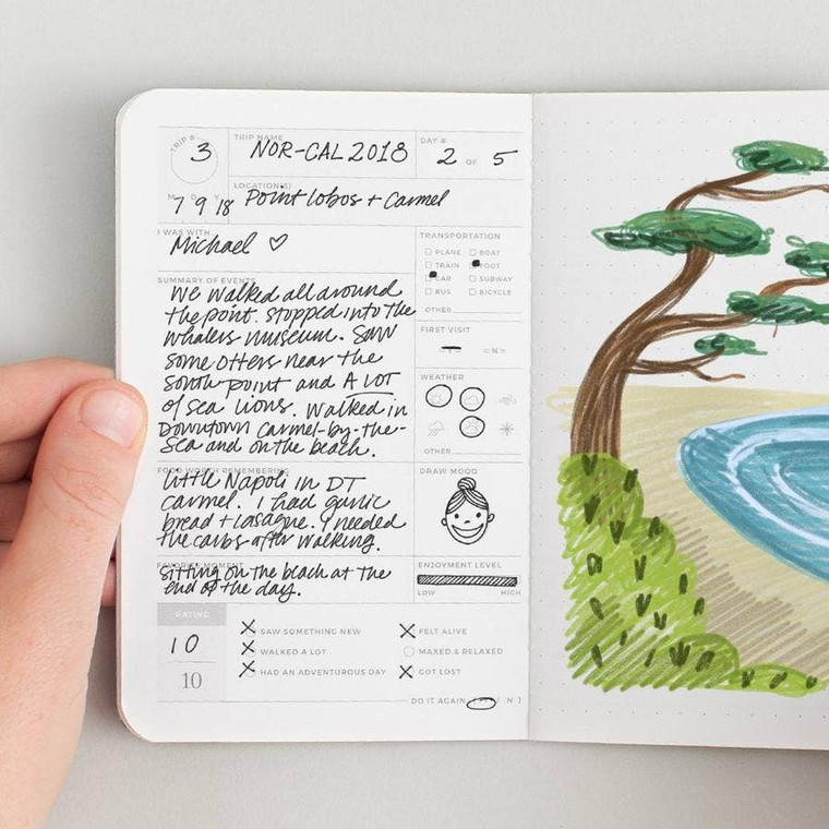 """Trip Journal Passport  Designed to capture and encourage experiences, each passport contains 20 entry logs with relevant form fields to help capture meaningful details of each theme-specific experience. Specs: acid-free 60lb text, stippled cover, foil stamped, center-sewn binding. Size: 3.5"""" x 5.5"""""""