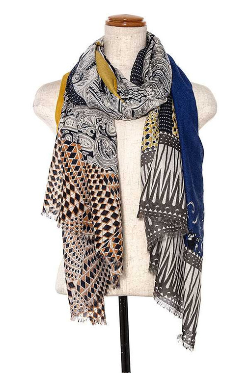 This is a gorgeous full length scarf that can be worn as a sarong or cover up for your bathing suit too. Lovely print.