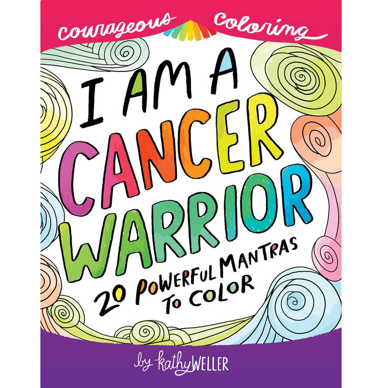 I Am A Cancer Warrior: 20 Powerful Mantras to Color features single-sided coloring pages with motivational, encouraging and empowering sayings and affirmations specifically for those fighting cancer.   Sayings include:  What does not kill us makes us STRONGER, This cancer will CRY, then WITHER and DIE, YOU are BRAVE , No stupid cancer is going to get in the WAY of ME and the rest of MY LIFE, Just focus on your HEALTH, don't WORRY about anything ELSE.