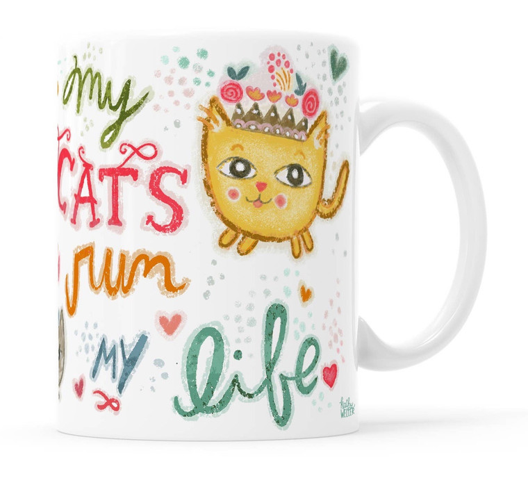 My Cats Run My Life Mug - Magical Creatures Collection. These mugs feature magical and real creatures. The design repeats on each side of the mug.